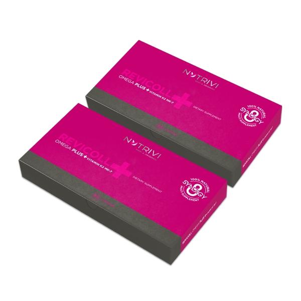 Nutrivi Revicoll Omega Plus + Vitamin K2MK7 120 ks (Mastné kyseliny omega 3, aminokyseliny, peptidy a rybí kolagen)