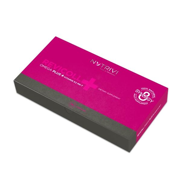 Nutrivi Revicoll Omega Plus + Vitamin K2MK7 30 ks - pro oběhovou soustavu a kostru (Mastné kyseliny omega 3, aminokyseliny, peptidy a rybí kolagen)